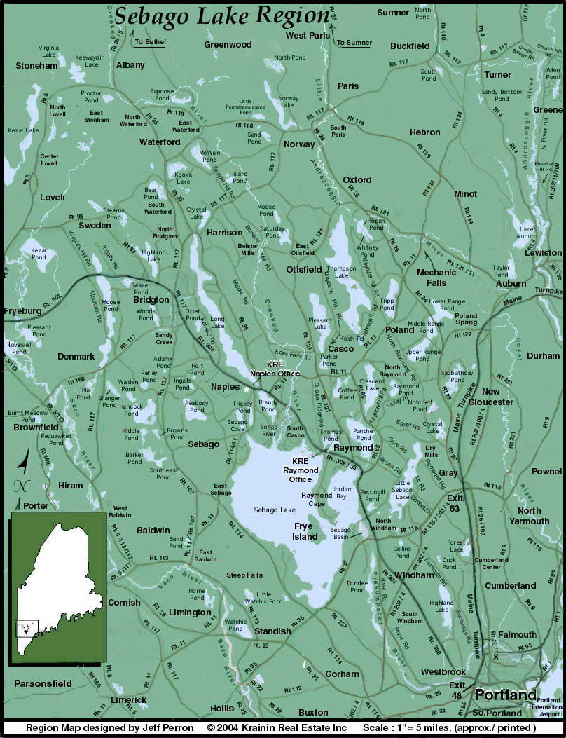 Map Of Maine Lakes.Road Map Of Sebago Lake Region Sebago Lake Region Maine Krainin